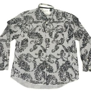 Arnold Zimberg Black Paisley Gray Stripe Button Up